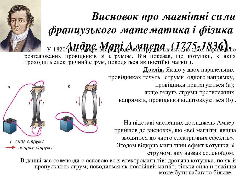 Висновок про магнітні сили французького математика і фізика Андре Марі Ампера...