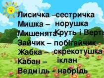 Лисичка – Мишка – Мишенята- Зайчик – Жабка – Кабан – Ведмідь - сестричка нору...
