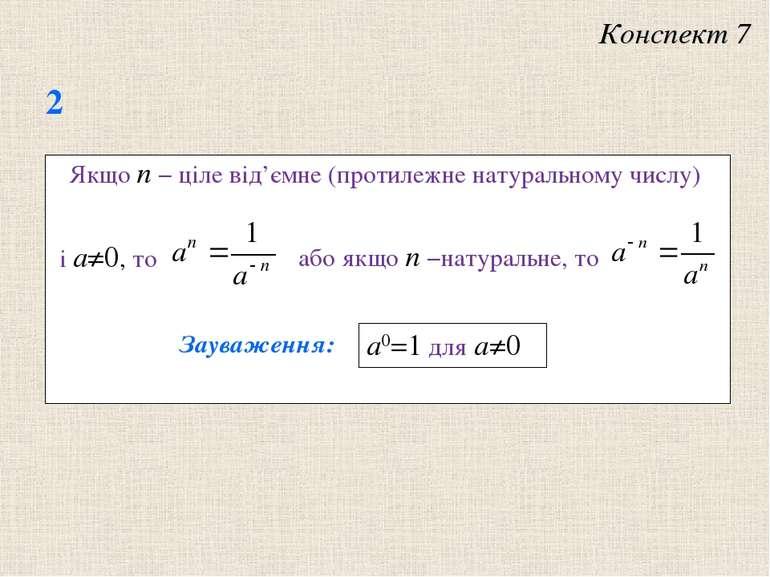 Якщо n − цiле вiд'ємне (протилежне натуральному числу) Зауваження: a0=1 для a≠0