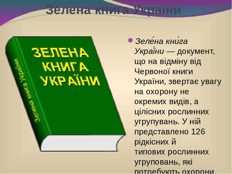 Зелена книга України Зеле на кни га Украї ни— документ, що на відміну відЧе...