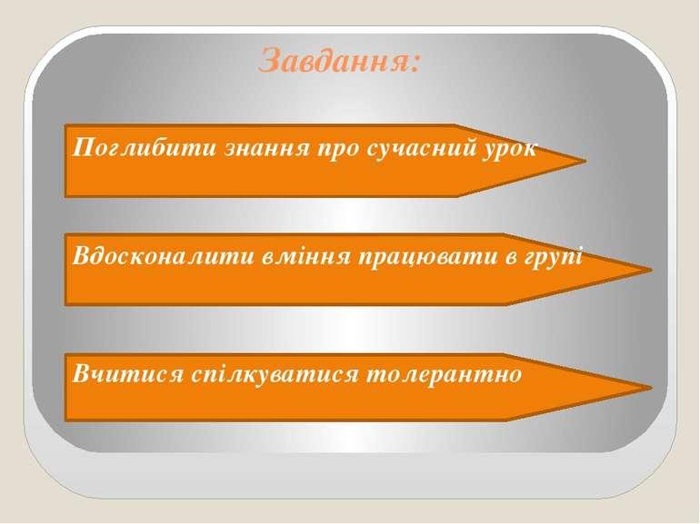 Завдання: Поглибити знання про сучасний урок Вдосконалити вміння працювати в ...