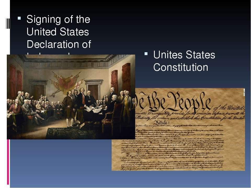 Signing of the United States Declaration of Independence. Unites States Const...