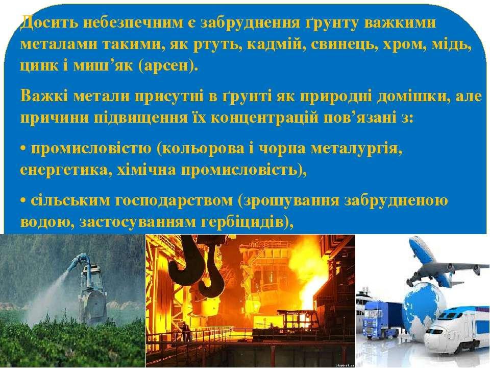 Досить небезпечним є забруднення ґрунту важкими металами такими, як ртуть, ка...