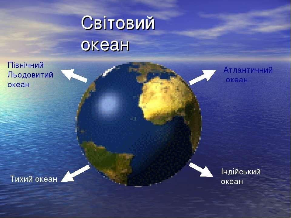 Світовий океан Північний Льодовитий океан Атлантичний океан Тихий океан Індій...