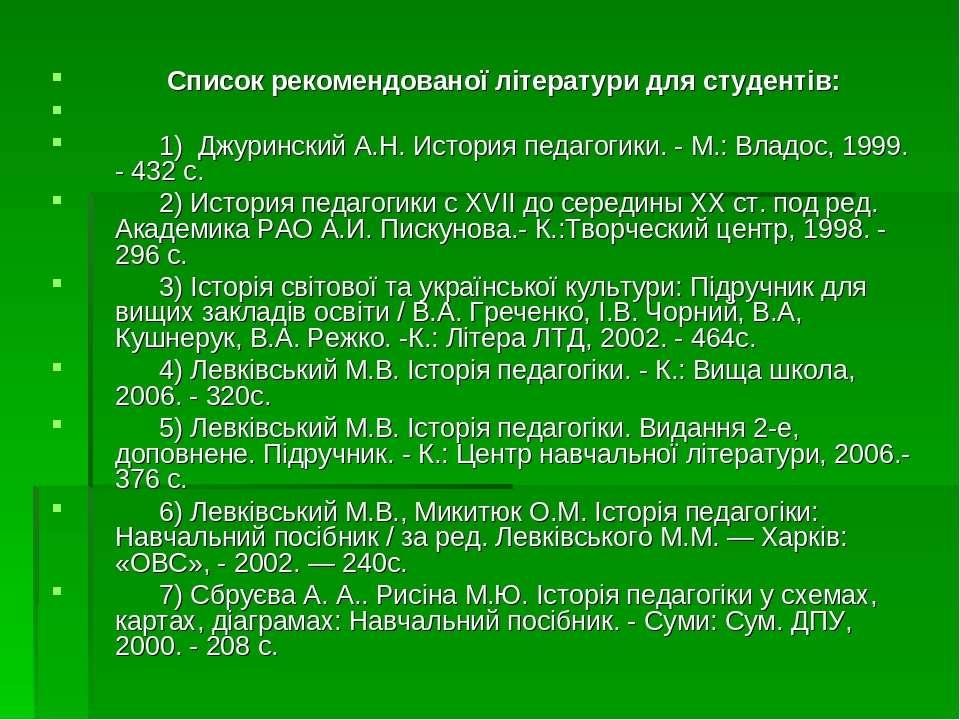 Список рекомендованої літератури для студентів: 1) Джуринский А.Н. История пе...