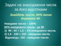 Знайдіть число, 60% якого дорівнює 90. Невідоме число – 100% 60% невідомого ч...