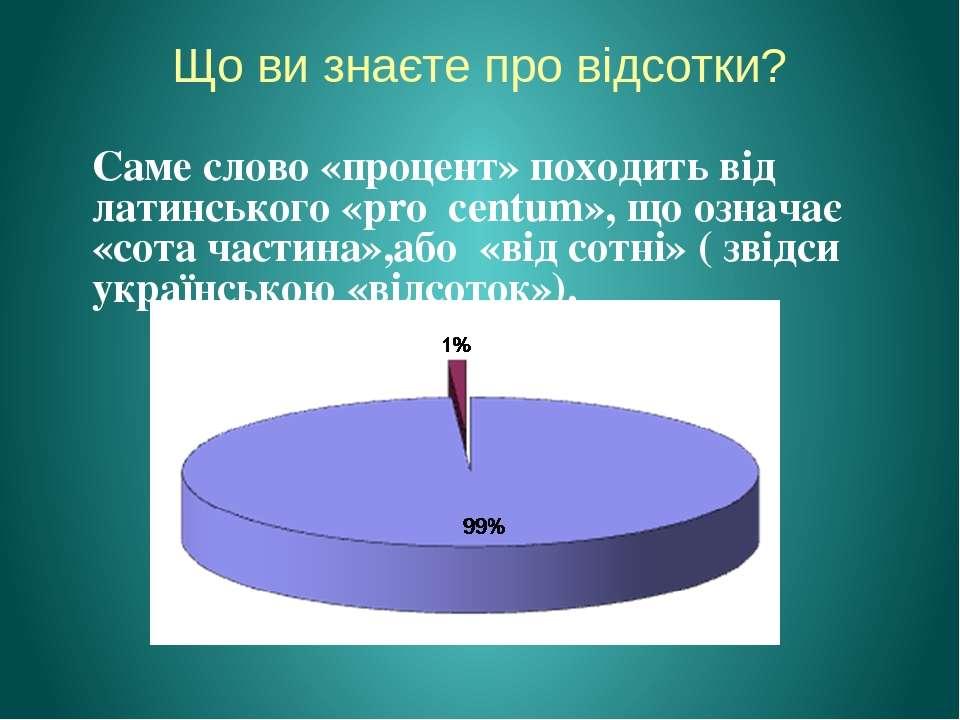 Що ви знаєте про відсотки? Саме слово «процент» походить від латинського «pro...