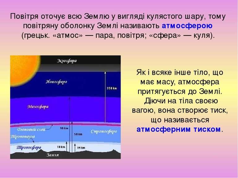 Як і всяке інше тіло, що має масу, атмосфера притягується до Землі. Діючи на ...
