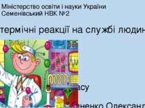 Міністерство освіти і науки України Семенівський НВК №2 Ендотермічні реакції ...