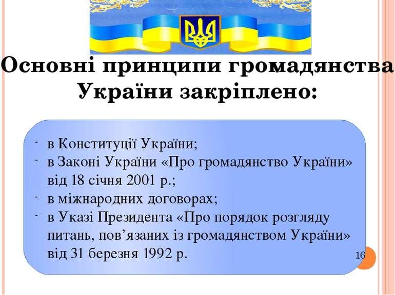 Основні принципи громадянства України закріплено: в Конституції України; в За...