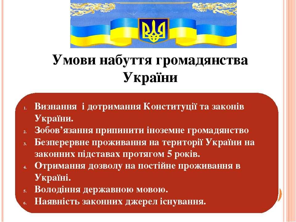 Умови набуття громадянства України Визнання і дотримання Конституції та закон...