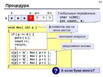 * Процедура 0 K-1 p Глобальные переменные: char s[80]; int count, K; s p+1 ре...
