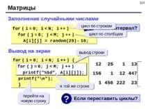 * Матрицы Заполнение случайными числами for ( i = 0; i < N; i ++ ) for ( j = ...