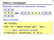 * Работа с матрицами Хранение в памяти: по строкам (Си, Паскаль) Запись матри...