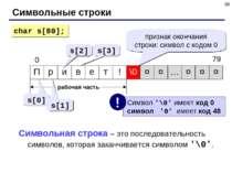 * Символьные строки рабочая часть s[0] s[1] s[2] s[3] char s[80]; признак око...