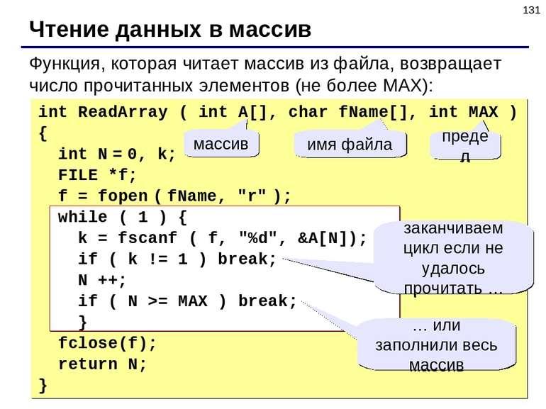 * Чтение данных в массив int ReadArray ( int A[], char fName[], int MAX ) { i...