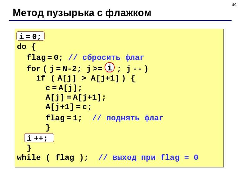 * Метод пузырька с флажком i = 0; do { flag = 0; // сбросить флаг for ( j = N...