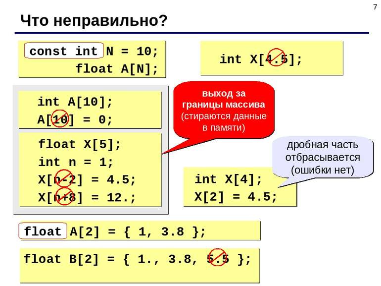 * Что неправильно? int N = 10; float A[N]; const int int X[4.5]; int A[10]; A...