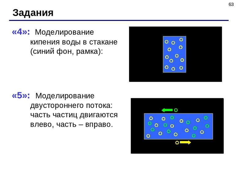 * Задания «4»: Моделирование кипения воды в стакане (синий фон, рамка): «5»: ...