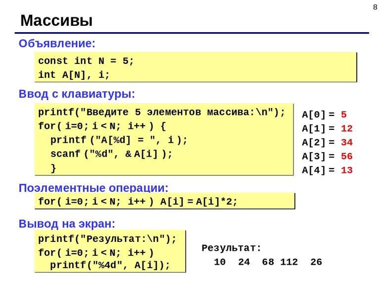 * Массивы Объявление: Ввод с клавиатуры: Поэлементные операции: Вывод на экра...