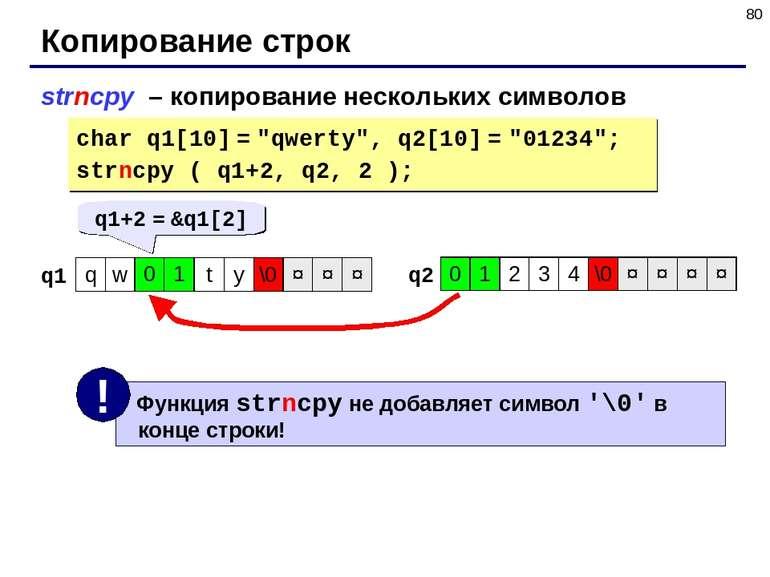 """* Копирование строк strncpy – копирование нескольких символов char q1[10] = """"..."""
