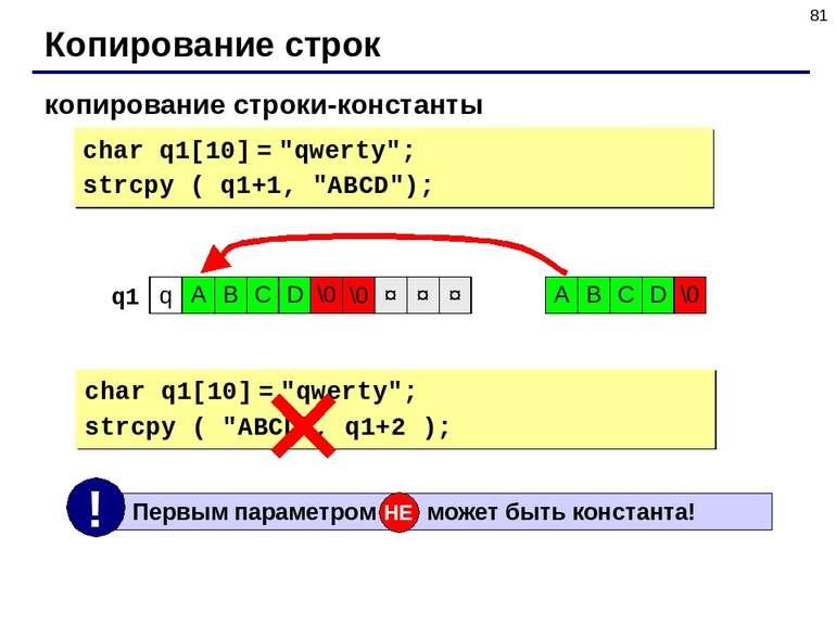 "* Копирование строк копирование строки-константы char q1[10] = ""qwerty""; strc..."