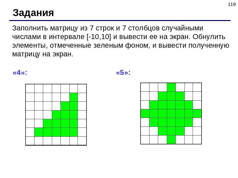 * Задания Заполнить матрицу из 7 строк и 7 столбцов случайными числами в инте...