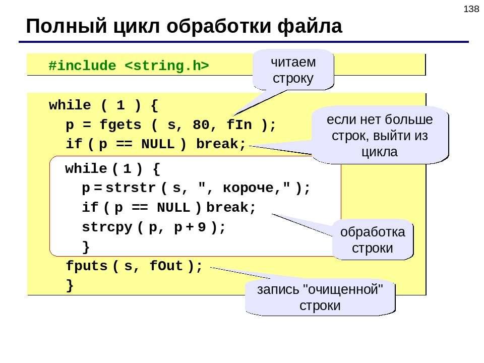 * #include Полный цикл обработки файла while ( 1 ) { p = fgets ( s, 80, fIn )...