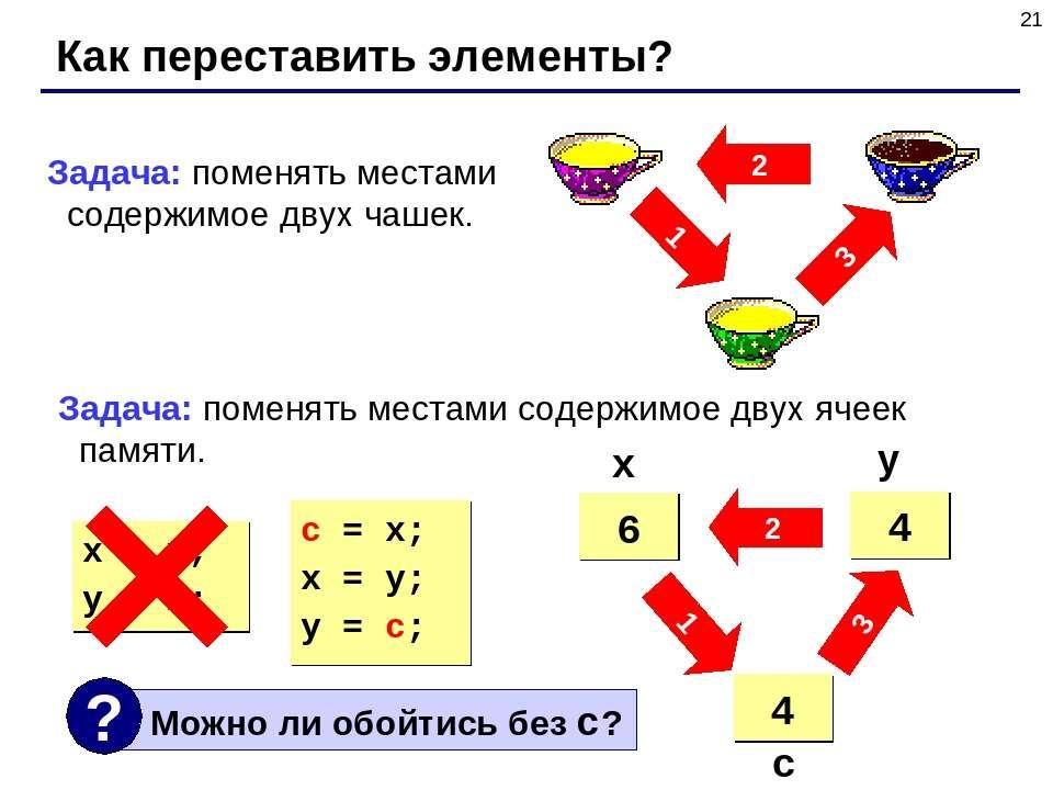 * Как переставить элементы? 2 3 1 Задача: поменять местами содержимое двух ча...