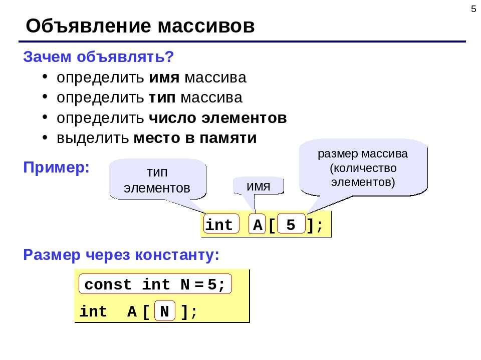 * Объявление массивов Зачем объявлять? определить имя массива определить тип ...