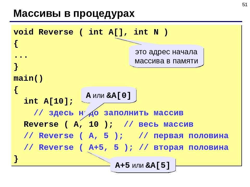 * Массивы в процедурах void Reverse ( int A[], int N ) { ... } main() { int A...