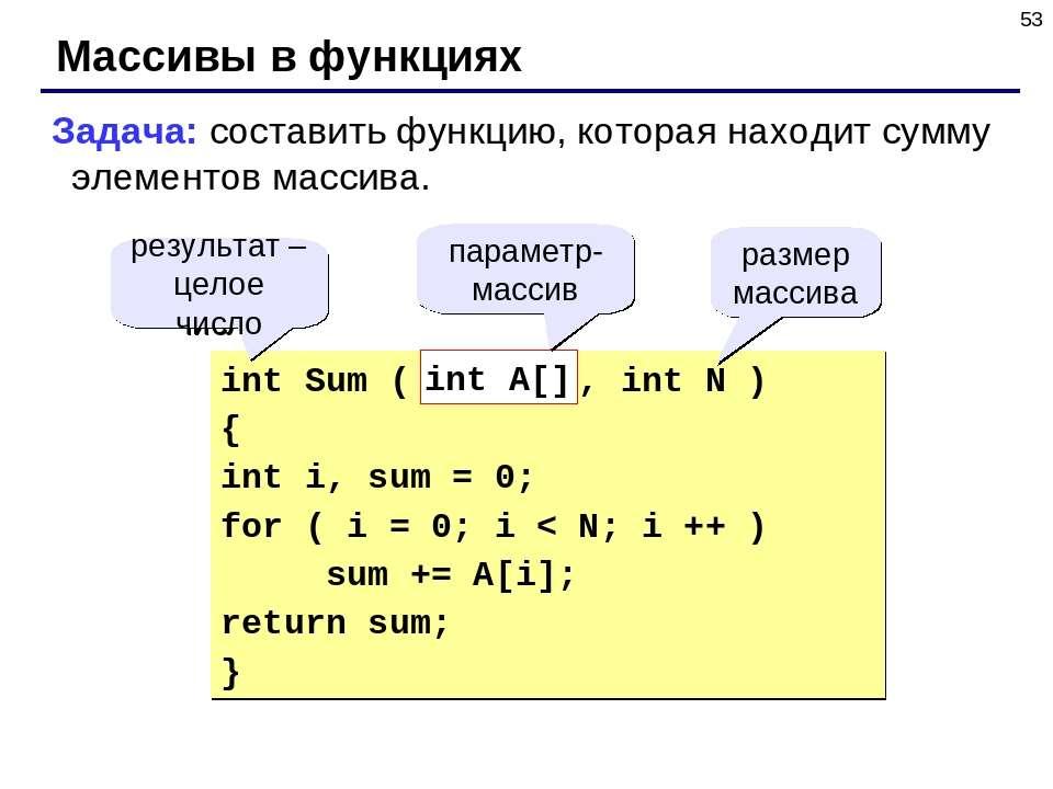 * Массивы в функциях Задача: составить функцию, которая находит сумму элемент...
