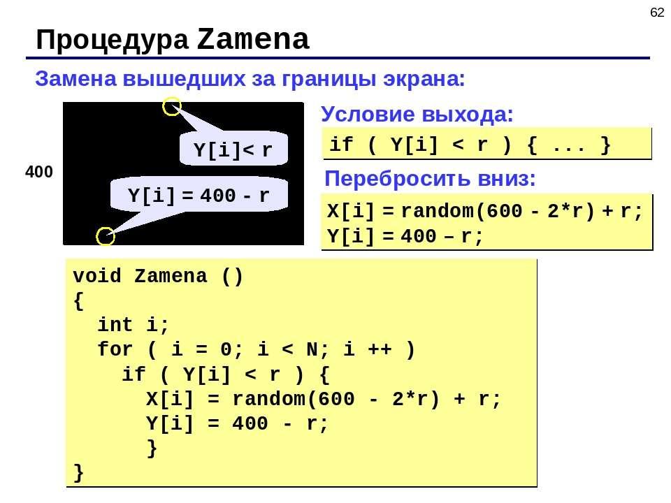 * Процедура Zamena Замена вышедших за границы экрана: 400 void Zamena () { in...