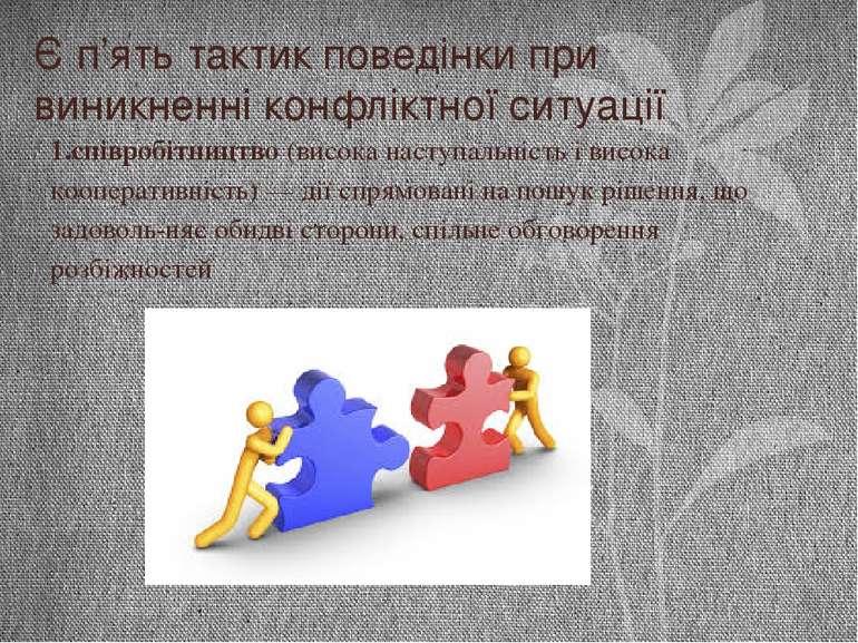 Є п'ять тактик поведінки при виникненні конфліктної ситуації 1.співробітництв...