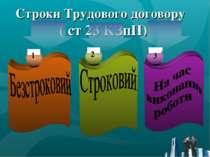 Строки Трудового договору ( ст 23 КЗпП) 1 2 3