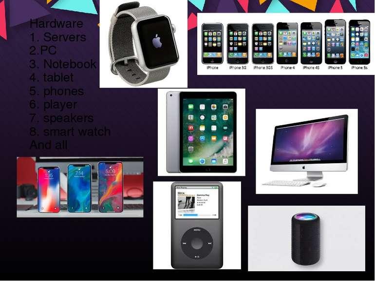 Hardware 1. Servers 2.PC 3. Notebook 4. tablet 5. phones 6. player 7. speaker...