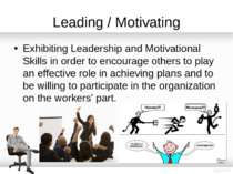 Leading / Motivating Exhibiting Leadership and Motivational Skills in order t...