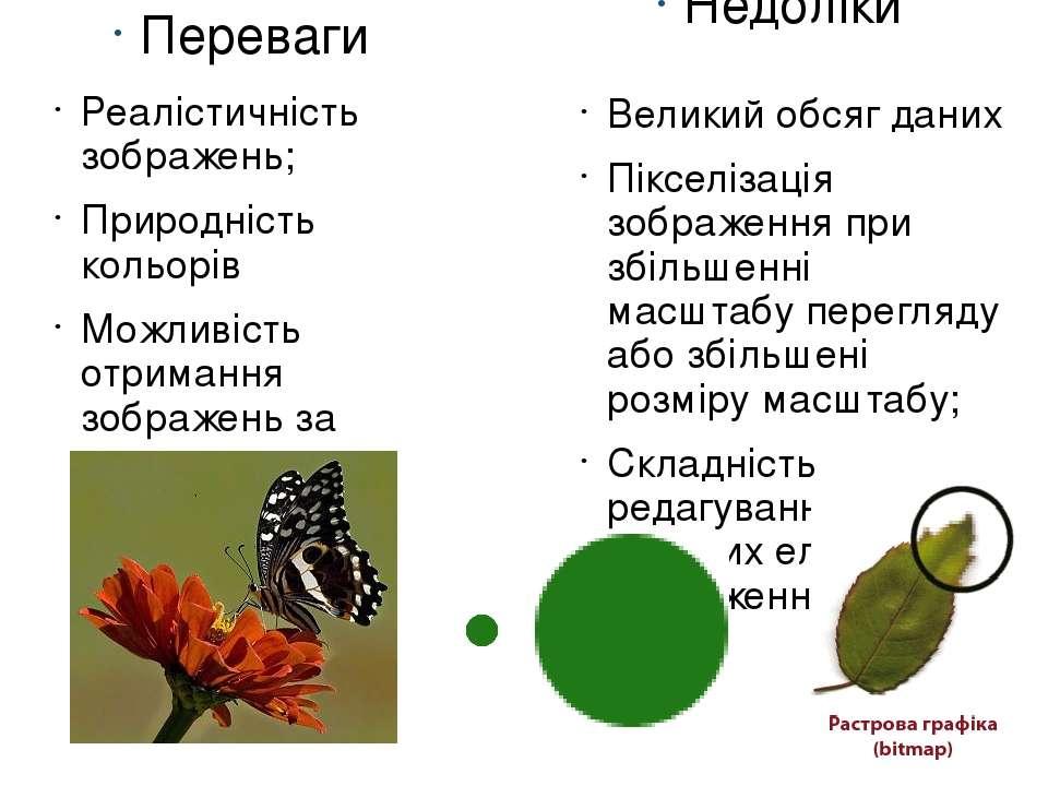 Переваги Реалістичність зображень; Природність кольорів Можливість отримання ...