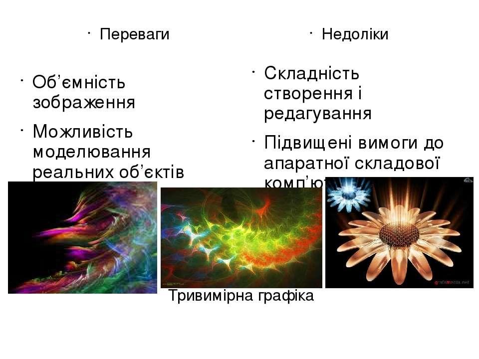Тривимірна графіка Переваги Об'ємність зображення Можливість моделювання реал...