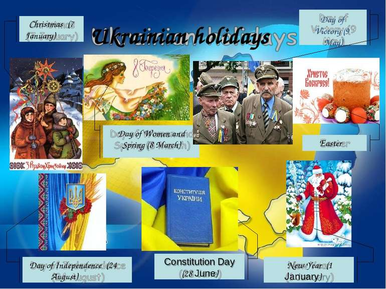 Ukrainian holidays Christmas (7 January) Day of Women and Spring (8 March) Da...