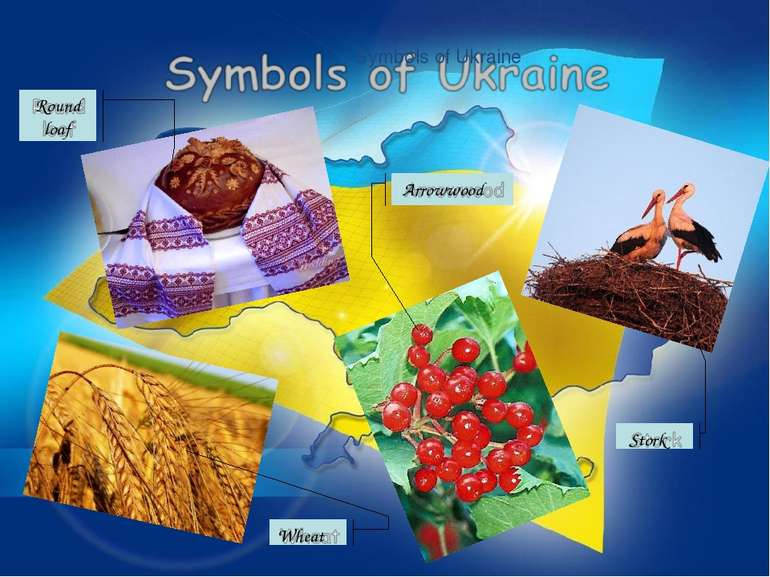 Symbols of Ukraine Round loaf Wheat Stork Arrowwood