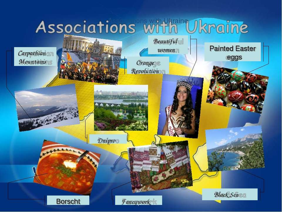 Associations with Ukraine Carpathian Mountains Dnipro Beautiful women Painted...