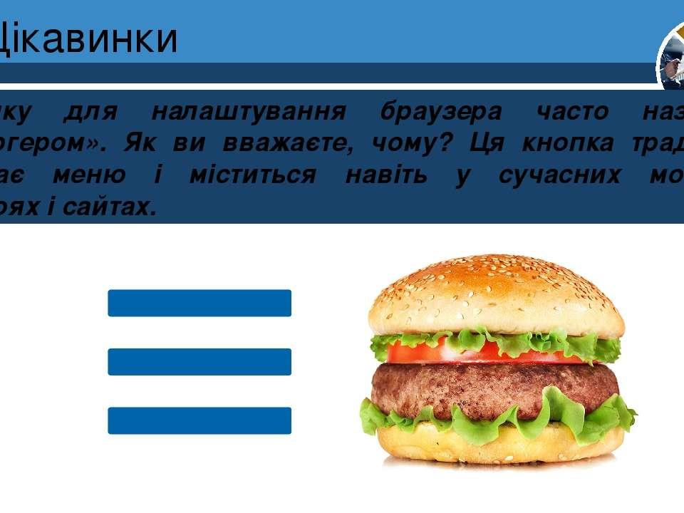 Цікавинки Кнопку для налаштування браузера часто називають «гамбургером». Як ...