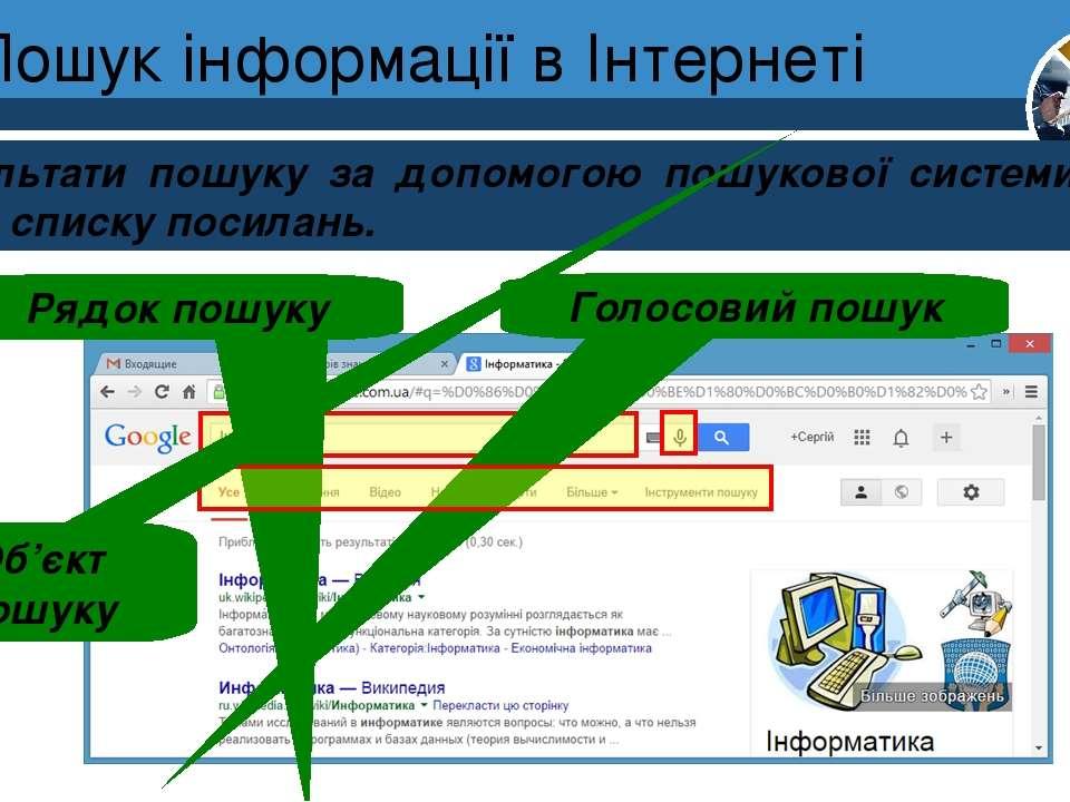 Пошук інформації в Інтернеті Результати пошуку за допомогою пошукової системи...