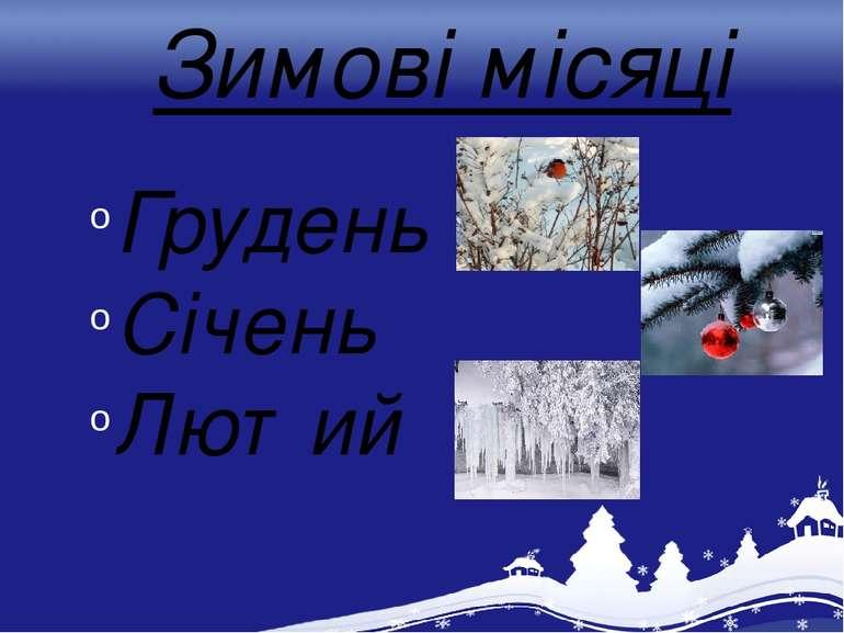 Зимові місяці Грудень Січень Лютий