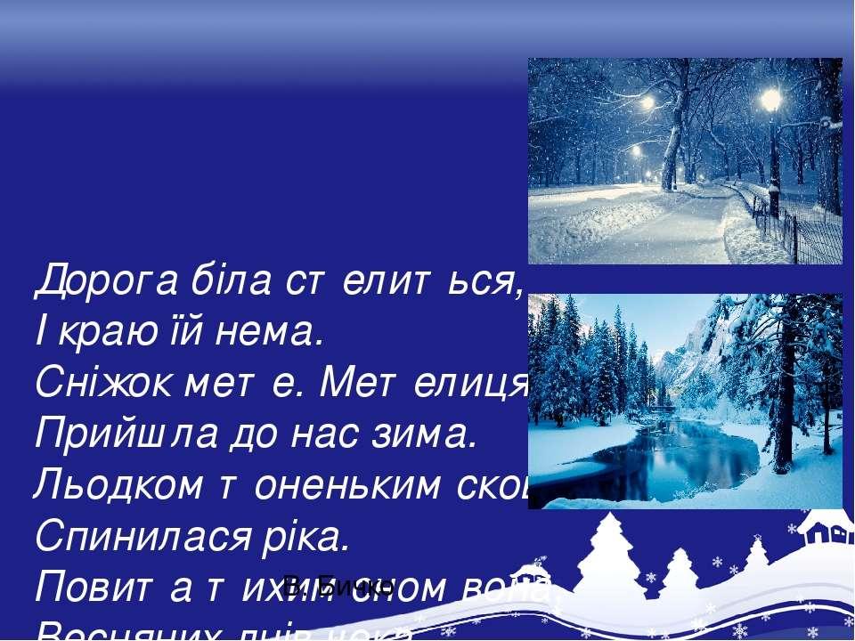 Дорога біла стелиться, І краю їй нема. Сніжок мете. Метелиця. Прийшла до нас ...