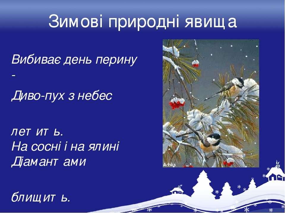 Зимові природні явища Вибиває день перину - Диво-пух з небес летить. На сосні...