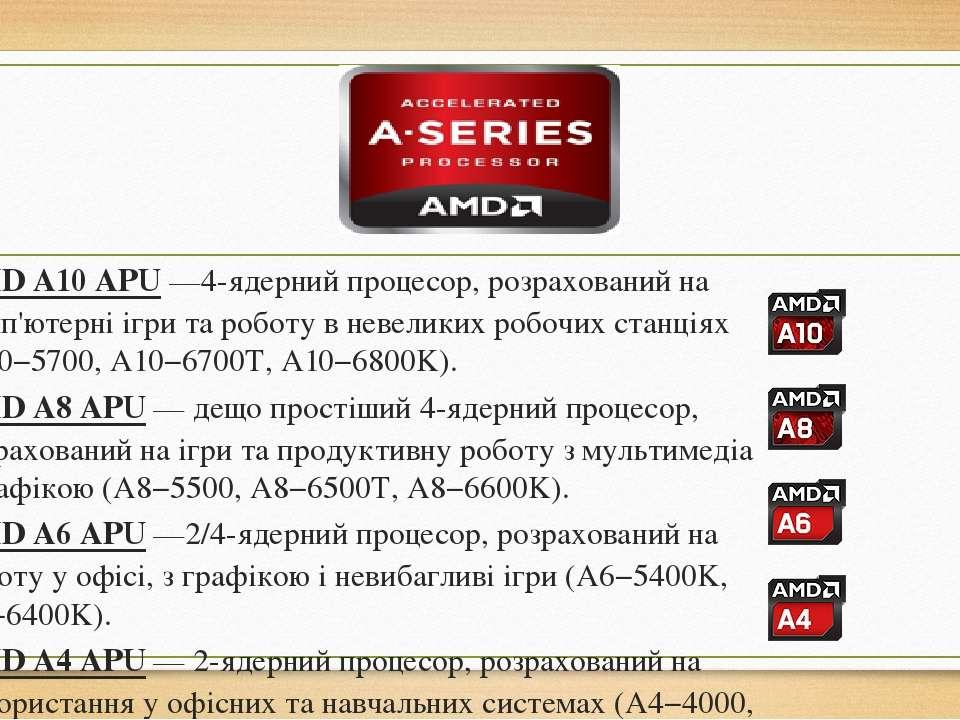 AMDA10APU—4-ядерний процесор, розрахований на комп'ютерні ігри та роботу в...