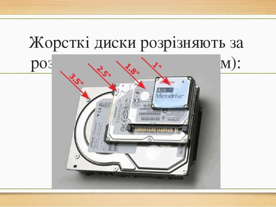 Жорсткі диски розрізняють за розмірами (форм-фактором):