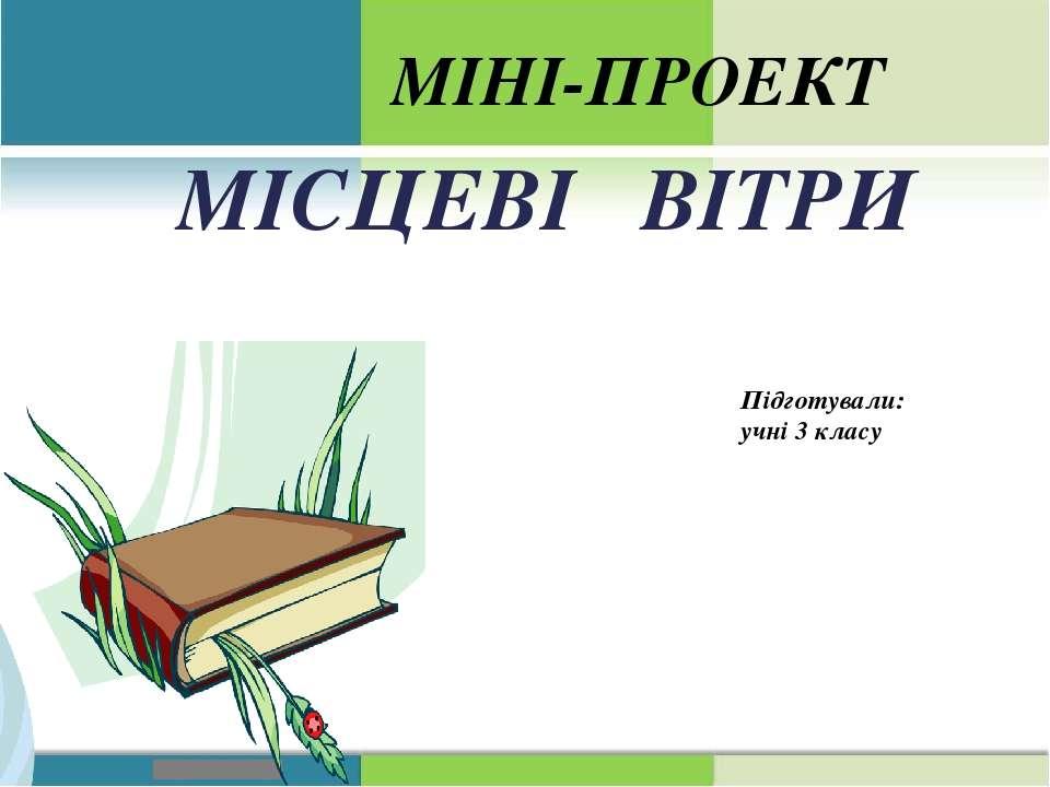 МІСЦЕВІ ВІТРИ МІНІ-ПРОЕКТ Підготували: учні 3 класу